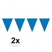Merkloos 2x Mini slinger versiering blauw