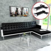 vidaXL Ъглов диван, изкуствена кожа, черен