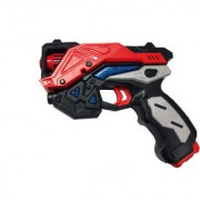 Emob Battery Operated Pretend Play Red Musical Gun Toy with Real Reload Sound and Lights Effects