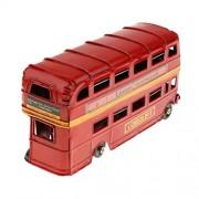 Anbau Kids Metal Double-Deck London Bus Model Die-cast Vehicles Handmade Craft