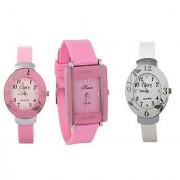 i DIVA'S Glory Combo Of Three Watches- Pink And White Glory Pink Rectangular Dial Kawa Watch 5 STAR