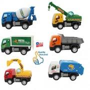 HALO NATION Kid's ABS Plastic Construction Vehicle Set- Dumper+JCB+Cement Mixer+Transportruck+GarbageTruck+Container+Crain - 6 pcs (HN-2956A, Multi)