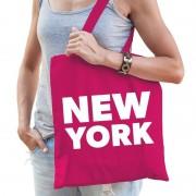 Shoppartners New York schoudertas fuchsia roze katoen