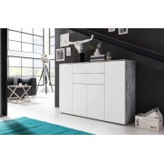 Trendteam GmbH & Co. KG Komoda viva - obývací komoda velká (cement šedá/bílá)
