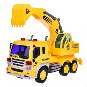 Sajani Excavator & JCB Truck Construction Trucks Toys for Boys Friction Powered Truck Vehicle for Kids with Light and Sound 6 Wheels