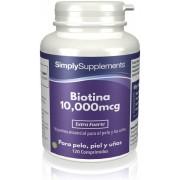 Simply Supplements Biotina 10,000mcg - 120 Comprimidos