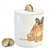 German Shepherd Coin Box Bank by Lunarable, Cartoon Dogs with Their Tongues Hanging Out Happy Animal Design, Printed Ceramic Coin Bank Money Box for Cash Saving, Pale Pink Brown Taupe