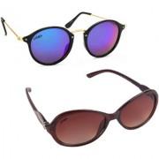 Aligatorr Combo Of 2 Cat Eye Oval Unisex Sunglasses ldy brnoval merCRLK