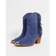 ALDO desert star leather heeled western boots in blue - female - Blue - Size: 7