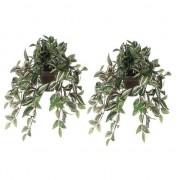 Mica Decorations 2x Groene Tradescantia/vaderplant kunstplanten 45 cm met pot - Kunstplanten