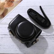 Full Body Camera PU leder Camera Case tas met riem voor Canon PowerShot G7 X Mark II (zwart)
