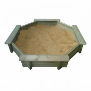 8ft Octagonal Wooden Sand Pit 27mm - 429mm Depth with Play Sand and Wooden Lid