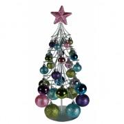 Metalen kerstboom met pastel ballen