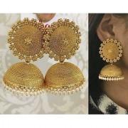 Shourya Exports Gold Plated Pearl Royal Big Jhumki Jhumka Set