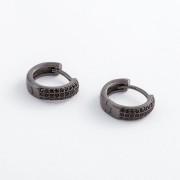 Brinco Argola Médio Cravejado com Zircônias Negras Banhado a Ródio Negro
