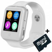 Ceas Smartwatch cu Telefon iUni V88 1.22 inch BT 64MB RAM 128MB ROM Alb + Card MicroSD 4GB Cadou Bonus Bratara Roca Vulcanica unisex