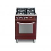 Lofra Pr66gvt/c Rosso Burgundy 60x60 Cucina Colorata Con Piano In Acciaio Lucidato A Specchio - 4 Fuochi A Gas Di Cui 1 Tripla