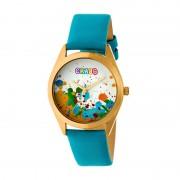 Crayo Graffiti Leather-Band Watch - Gold/Powder Blue CRACR4004