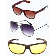 Magjons Brown Wayfarer Grey Aviator Sunglasses Combo Yellow Driving Goggale Set of 3 With box MJK015