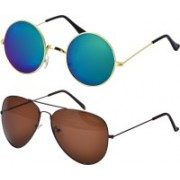 Freny Exim Aviator, Round Sunglasses(Multicolor, Brown)