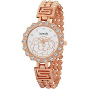 Howdy Crystal Studded White Dial Analog Watch With Rose Gold Stinless Steel Chain