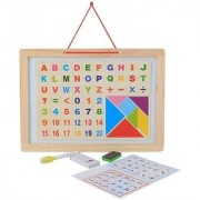 SHRIBOSSJI Kids Learning Two Sided Magnetic White Blackboard With Tangram Educational Wooden Toy Alphabets Numbers