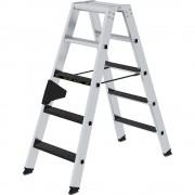 Guenzburger Stufen-Stehleiter CLIP-STEP beidseitig begehbar, rutschhemmend R13, belastbar 2 x 5 Stufen