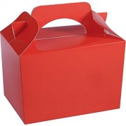 Mustbebonkers Childrens / Kids Party Food Meal Boxes - Plain Colours Gift Bag Box Recyclable Biodegradable (10, Red)