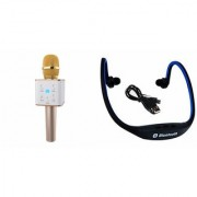 Zemini Q7 Microphone and BS19C Bluetooth Headset for SAMSUNG GALAXY CORE 2(Q7 Mic and Karoke with bluetooth speaker | BS19C Bluetooth Headset With Mic)