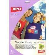 agipa APLI agipa 10247 : Papier Transfert T-Shirt couleur 100% coton - Poch 5 feuilles A4