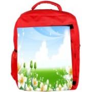 Snoogg Eco Friendly Canvas White Flower Garden Designer Backpack Rucksack School Travel Unisex Casual Canvas Bag Bookbag Satchel 5 L Backpack(Red)
