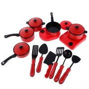 Fenteer Red Playset Plastic Pots and Pans Kitchen Cookware for Kids with Cooking Utensils Set of 13 Pieces
