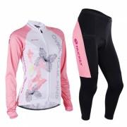 NUCKILY Ciclismo de manga larga Jersey + Pantalones Largos - Rosa (M)
