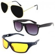 Elligator Aviator, Wayfarer, Sports Sunglasses(Black, Yellow)