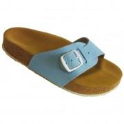 Pegres korkové pantofle kožené s jedním páskem - velikost 23 - 28 modrá