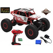 MousePotato Kid's 1:18 4WD Plastic Rally Car Rock Crawler Off Road Race Monster Truck (Red)