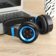 P6 Vezeték nélküli Bluetooth fejhallgató - Beépített mikrofon, FM rádió, 3,5mm AUX kimenet, Bluetooth 4.0 - FEKETE / KÉK