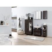Lifestyle4Living Badmöbel Set 5-tlg. in graphitgrau und grau Hochglanz, Metallgriffe, Spiegelschrank, Hängeschrank, Unterschrank, Midischrank, Unterbeckenschrank