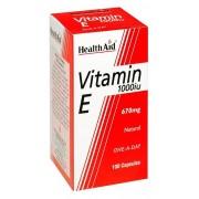 HealthAid Gezondheid steun vitamine E 1000iu natuurlijk, 100 Capsules