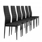 [en.casa]®Тапициран стол, еко кожа - комплект от 6 броя - Черни