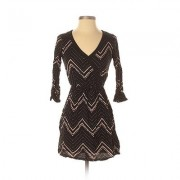 Charlotte Russe Casual Dress - Fit & Flare: Black Chevron/Herringbone Dresses - Used - Size X-Small