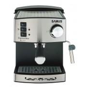 Espressor Samus Espressimo Silver, 15 bari, 1.6 L, Filtru inox, Duză abur pentru cappuccino, Plită preîncălzire cești, Negru/Inox