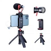 ULANZI Select ULANZI Soporte de vídeo para smartphone con micrófono, kit de vídeo para iPhone con trípode, trípode para teléfono móvil, micrófono de escopeta para zapatos fríos, compatible con iPhone 11 Pro Max/XS Max/8 Plus/Samsung YouTube Vlog