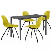 PremiumXL - [en.casa] Dizajn blagovaonski set - stol (tamno sivi, 120x60cm) - sa 4 stolice(senf žute)