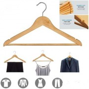 ROYALDEALSHOP New Natural Finish Super Sturdy and Durable Wooden Hangers Wood Suit Hangers with Non-Slip Bar Set of 3