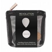 Makeup Revolution Cestovní sada na tvář Handbag Hacks Mattifying Balm & Mini Blending Sponge