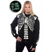 kapucnis pulóver férfi - Black Glow In The Dark Skeleton - BANNED -