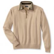Wetter-Pullover, Kontrastkragen Streifen, 52/54 - Beige