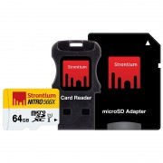 Cartão de Memória MicroSDXC Strontium Nitro 566X SRN64GTFU1C - 64GB