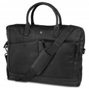 Lucleon Sac en cuir Oxford Classic de couleur noire pour ordinateur portable